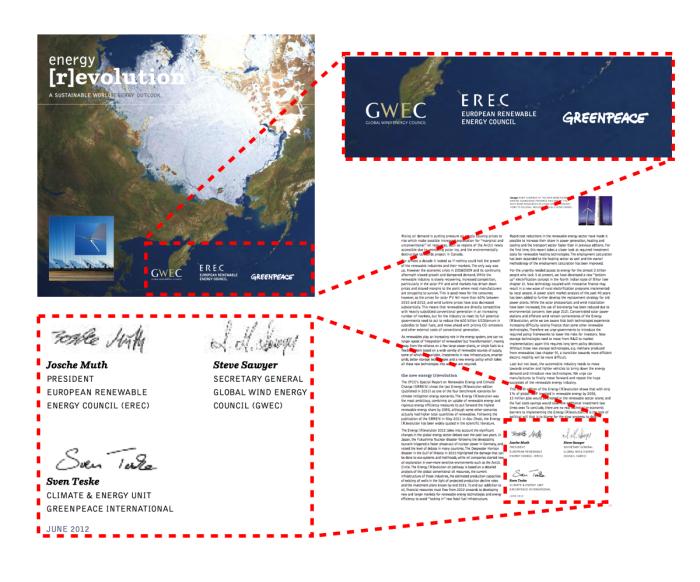 """Greenpeacen Energy [R]evolution 2012-raportin kansilehti ja allekirjoitukset. Järjestys on mielenkiin- toinen: EREC on omien nettisivujensa mukaan """"Euroopan uusiutuvan teollisuuden ääni"""", ja GWEC edustaa 1500 tuulivoima-alan yritystä kansainvälisissä järjestöissä kuten YK:ssa ja IPCC:ssä."""